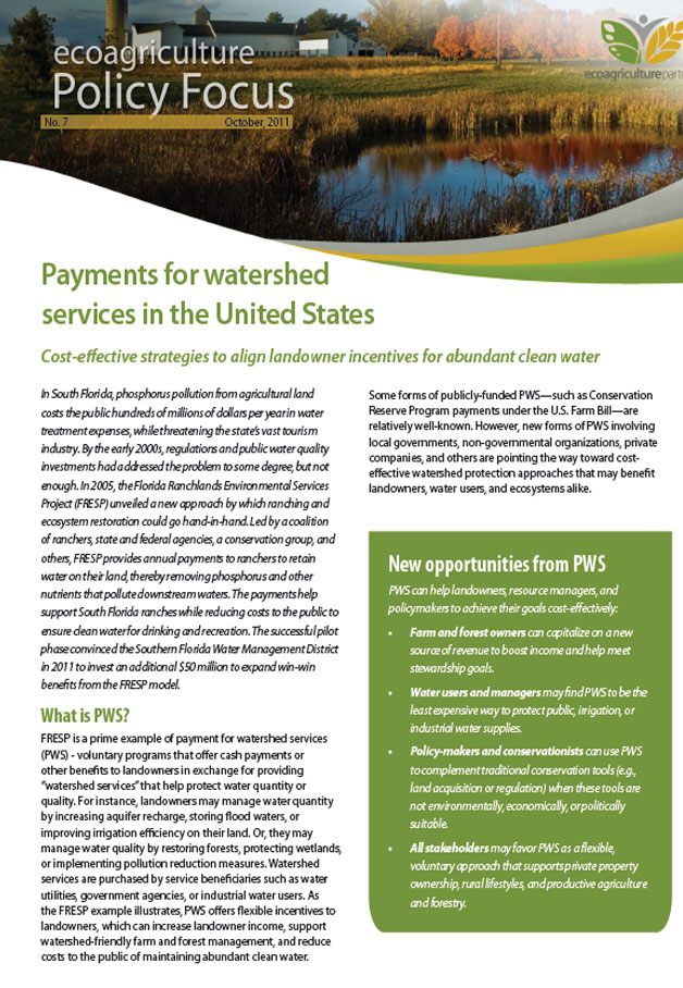 Payments for EcoServices Brief