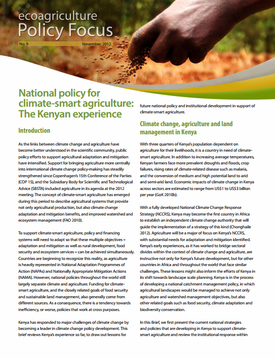 National Policy Kenya Policy Focus 9 Cover