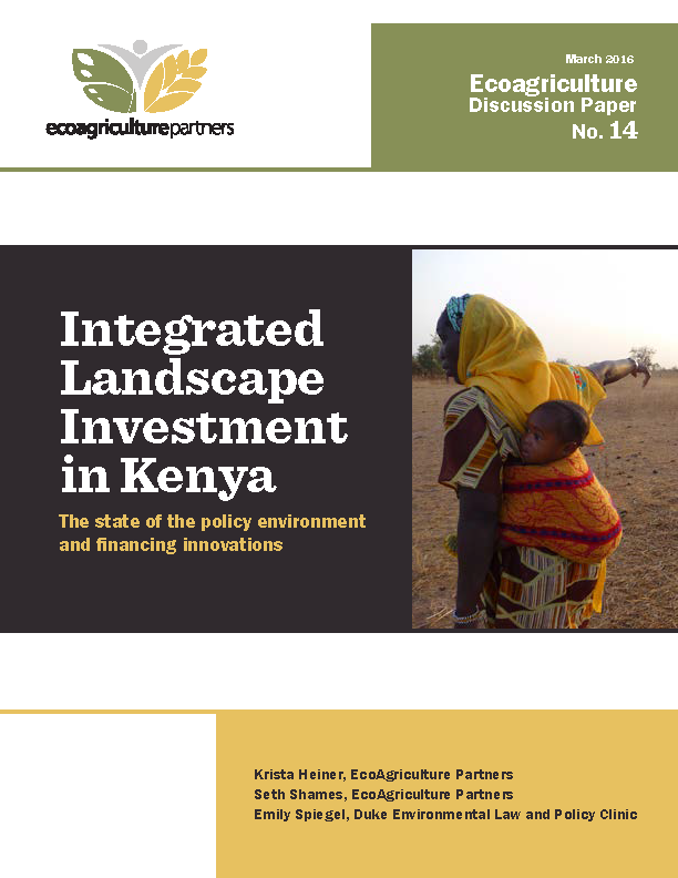 Integrated Landscape Investment in Kenya - Discussion Paper No 14 Cover