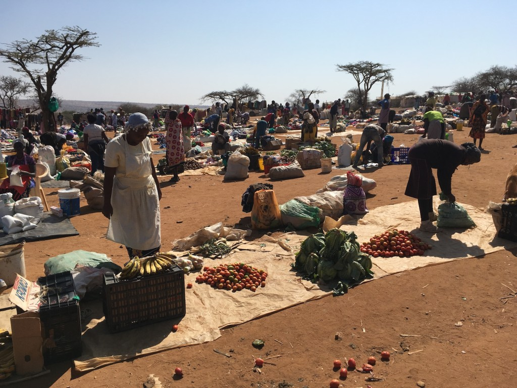 Produce sellers at Kimanjo Market in Laikipia County