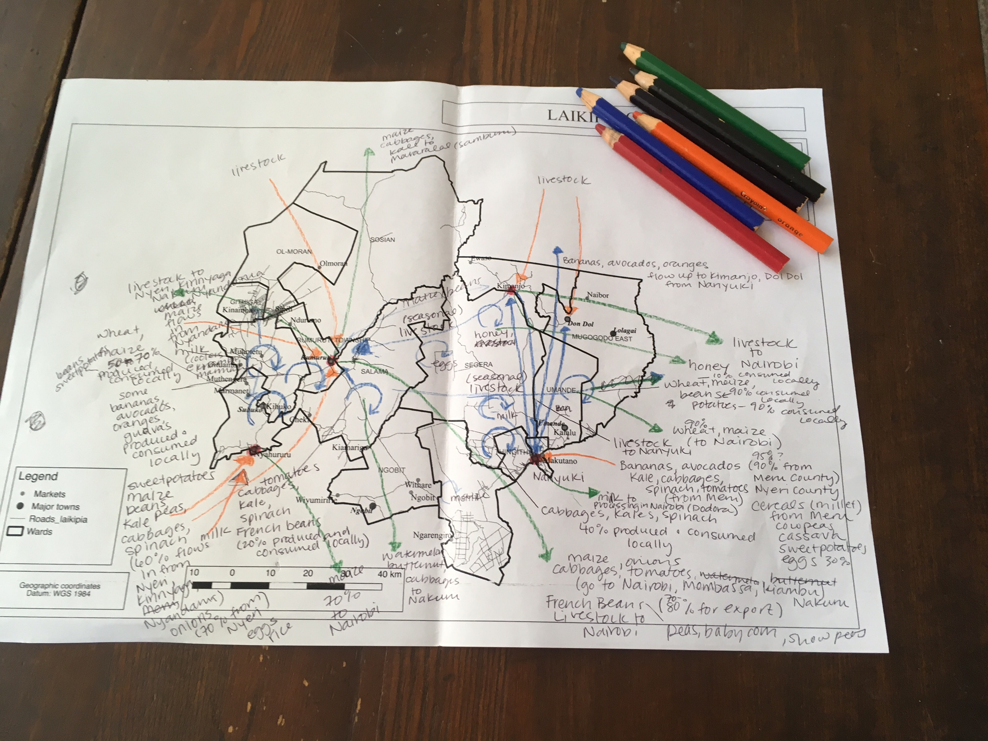 "A rough draft of a ""Food Flow"" Map in pen and colored pencil."