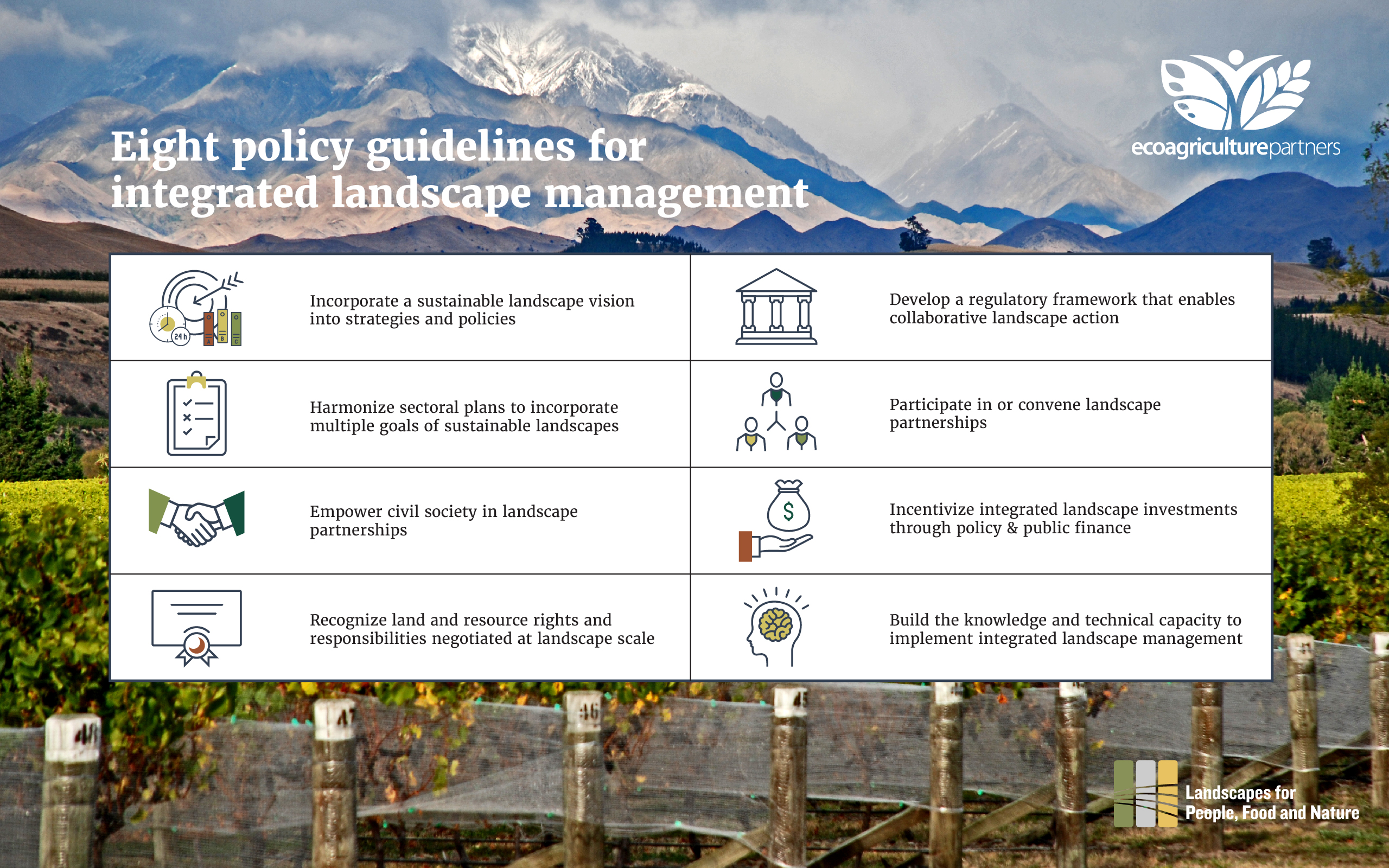 A summary of the eight categories of public policy action that can advance integrated landscape management to support achieving the SDGs. Read on for real-world examples of each category.